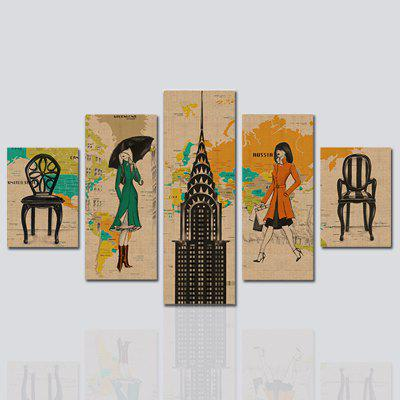 HX-ART No frame canvas five-set painting woman street living room decorative paintings