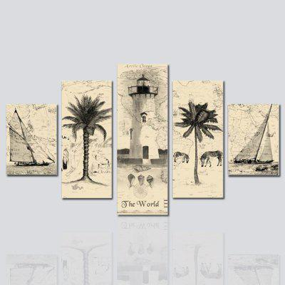 HX-ART No frame canvas five-set painting abstract Palm tree living room decoration