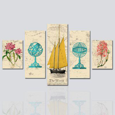 HX-ART Unframed canvas five-set painting ship living room decoration
