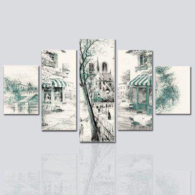 HX-ART Unframed canvas five-set painting village street living room decorative paintings
