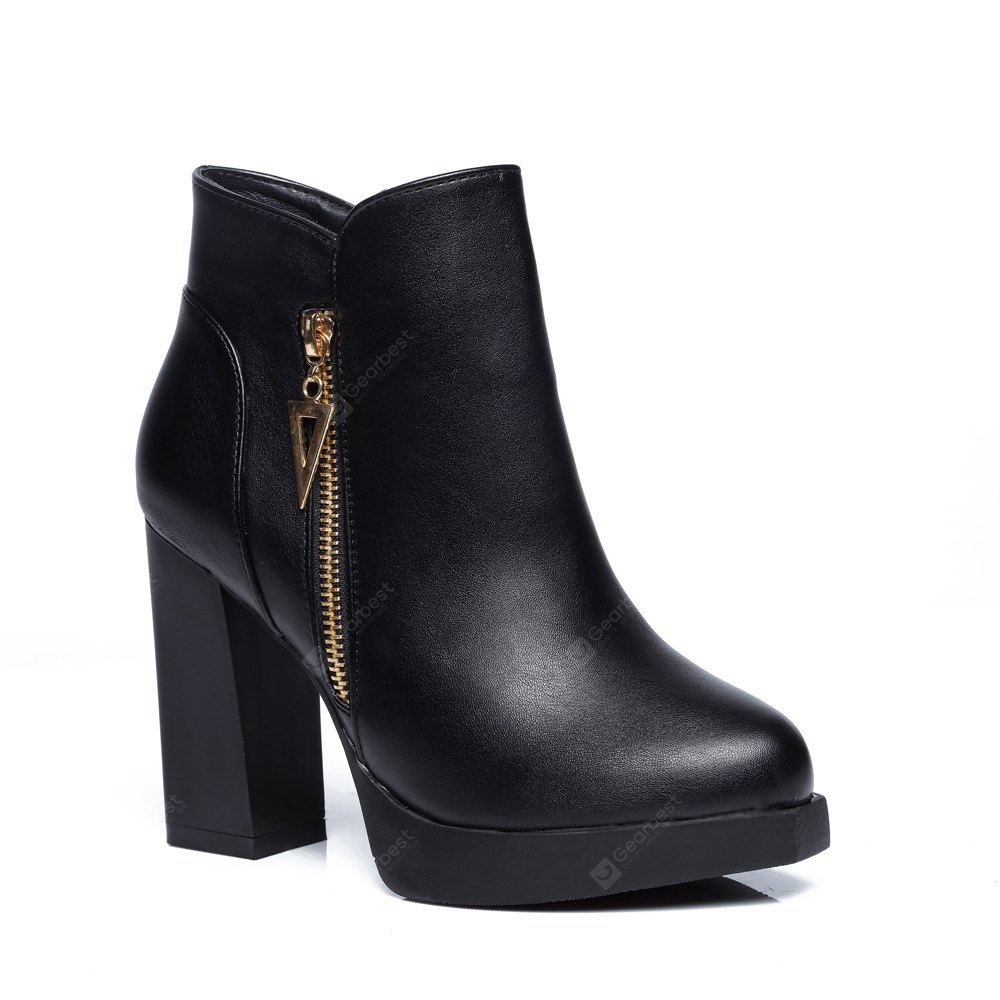 Womens Bottine High Thick Heel Solid Color PU Trendy