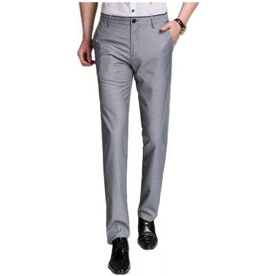 Baiyuan Trousers Business Casual Mens Slim Fit Suit Pants Grey