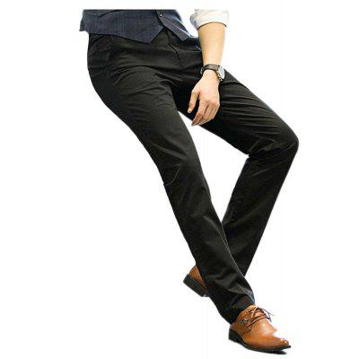 Baiyuan Trousers Business Casual Mens Slim Fit Suit Pants Black