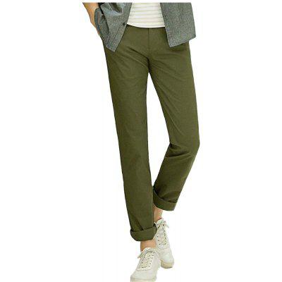 Baiyuan Trousers Casual Slim Fit Mens for Pants Army Green