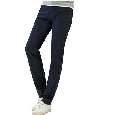Baiyuan Trousers Casual Slim Fit Mens Pants Dark Blue