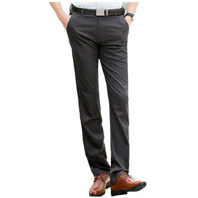 Baiyuan Trousers Casual Slim Fit Mens Pants Dark Grey