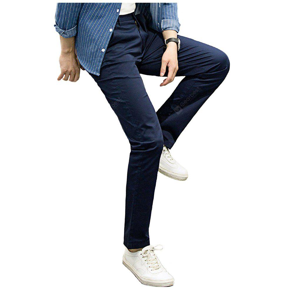 Baiyuan Trousers Casual Slim Fit Mens Pants Deep Blue