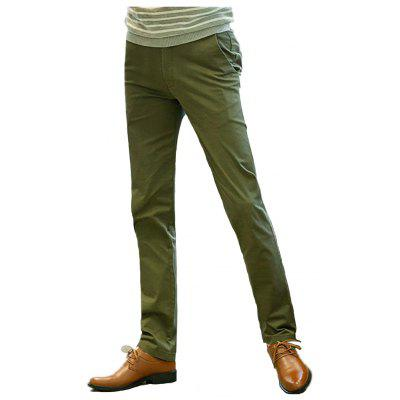 Baiyuan Trousers Casual Slim Fit Mens Pants Green