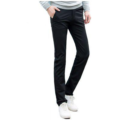Baiyuan Trousers Autumn Casual Slim Fit for Man Long Pants Black