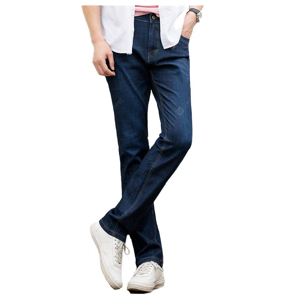 Baiyuan Trousers Casual Slim Fit Mens Jeans Blue