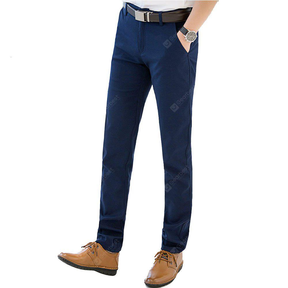 Buy Baiyuan Trousers Autumn Business Casual Slim Fit Mens Suit Pants Blue 36 BLUEBELL At ...