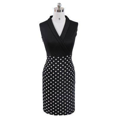 Buy BLACK XL Women Elegant Sleeveless Cocktail Polka dots Patchwork Vintage Casual Wear To Work Office Business Bodycon Pencil Dress for $24.60 in GearBest store