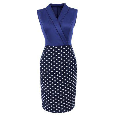 Buy BLUE AND BLACK L Women Elegant Sleeveless Cocktail Polka dots Patchwork Vintage Casual Wear To Work Office Business Bodycon Pencil Dress for $23.95 in GearBest store