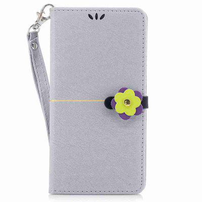 Gold Velvet Plum Blossom Head Pu Phone Case for Huawei P8 Lite 2017