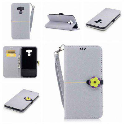 Gold Velvet Plum Blossom Head Pu Phone Case for Asus Zc553kl