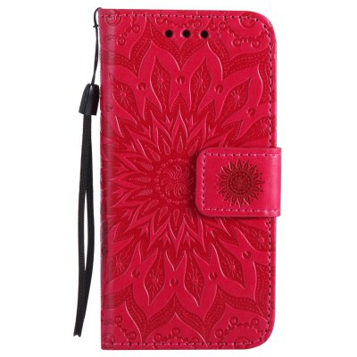 Buy RED Sun Flower Printing Design Pu Leather Flip Wallet Lanyard Protective Case for iPhone 5S/5/Se for $4.42 in GearBest store