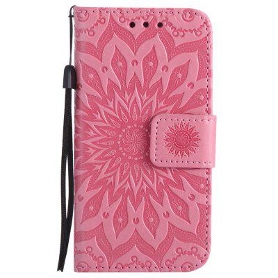Buy PINK Sun Flower Printing Design Pu Leather Flip Wallet Lanyard Protective Case for iPhone 5S/5/Se for $4.42 in GearBest store