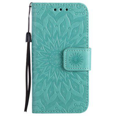 Buy GREEN Sun Flower Printing Design Pu Leather Flip Wallet Lanyard Protective Case for iPhone 5S/5/Se for $4.42 in GearBest store