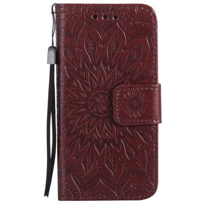 Buy BROWN Sun Flower Printing Design Pu Leather Flip Wallet Lanyard Protective Case for iPhone 5S/5/Se for $4.42 in GearBest store