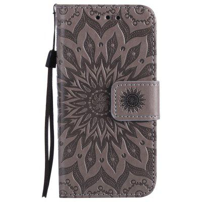 Buy GRAY Sun Flower Printing Design Pu Leather Flip Wallet Lanyard Protective Case for iPhone 5S/5/Se for $4.42 in GearBest store