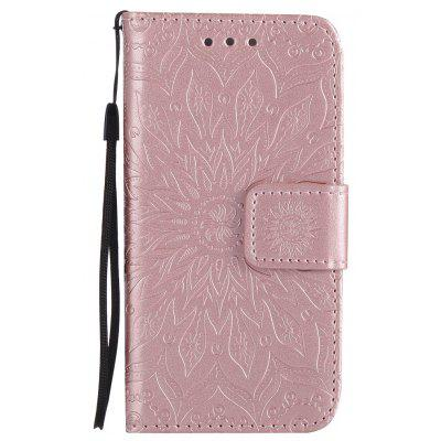Buy ROSE GOLD Sun Flower Printing Design Pu Leather Flip Wallet Lanyard Protective Case for iPhone 5S/5/Se for $4.42 in GearBest store