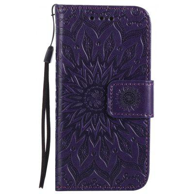 Buy PURPLE Sun Flower Printing Design Pu Leather Flip Wallet Lanyard Protective Case for iPhone 5S/5/Se for $4.42 in GearBest store
