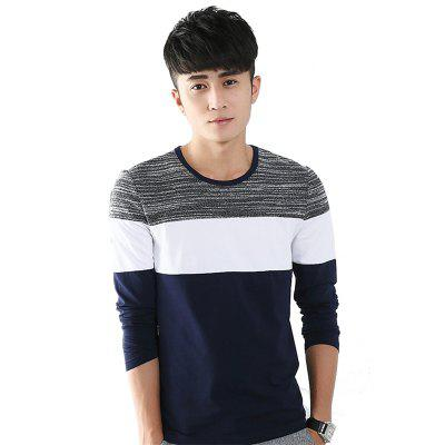 Mens Trend Products Hit Color Round Neck Long Sleeve T-Shirt
