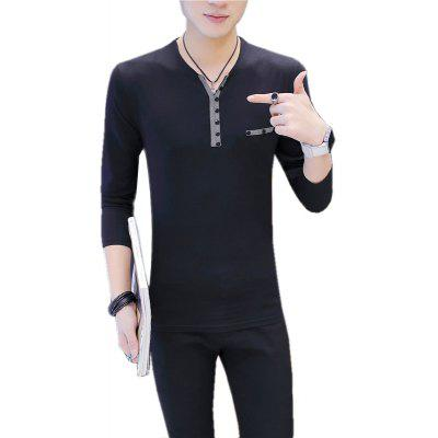 Mens Solid Color Personality Single-Breasted Decoration Long Sleeve Slim Lapel T-Shirt