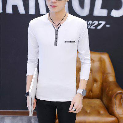 Mens Solid Color Personality Single-Breasted Decoration Long Sleeve Slim Lapel T-ShirtMens T-shirts<br>Mens Solid Color Personality Single-Breasted Decoration Long Sleeve Slim Lapel T-Shirt<br><br>Collar: V-Neck<br>Material: Cotton<br>Package Contents: 1 x T-Shirt<br>Pattern Type: Others<br>Sleeve Length: Full<br>Style: Fashion<br>Weight: 0.2000kg
