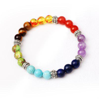 Buy MUTI-COLOR TF2104/2316# 7 Colour Agate Beads By Hand Black Frosted Yoga Energy Beads Bracelet 8MM for $7.14 in GearBest store