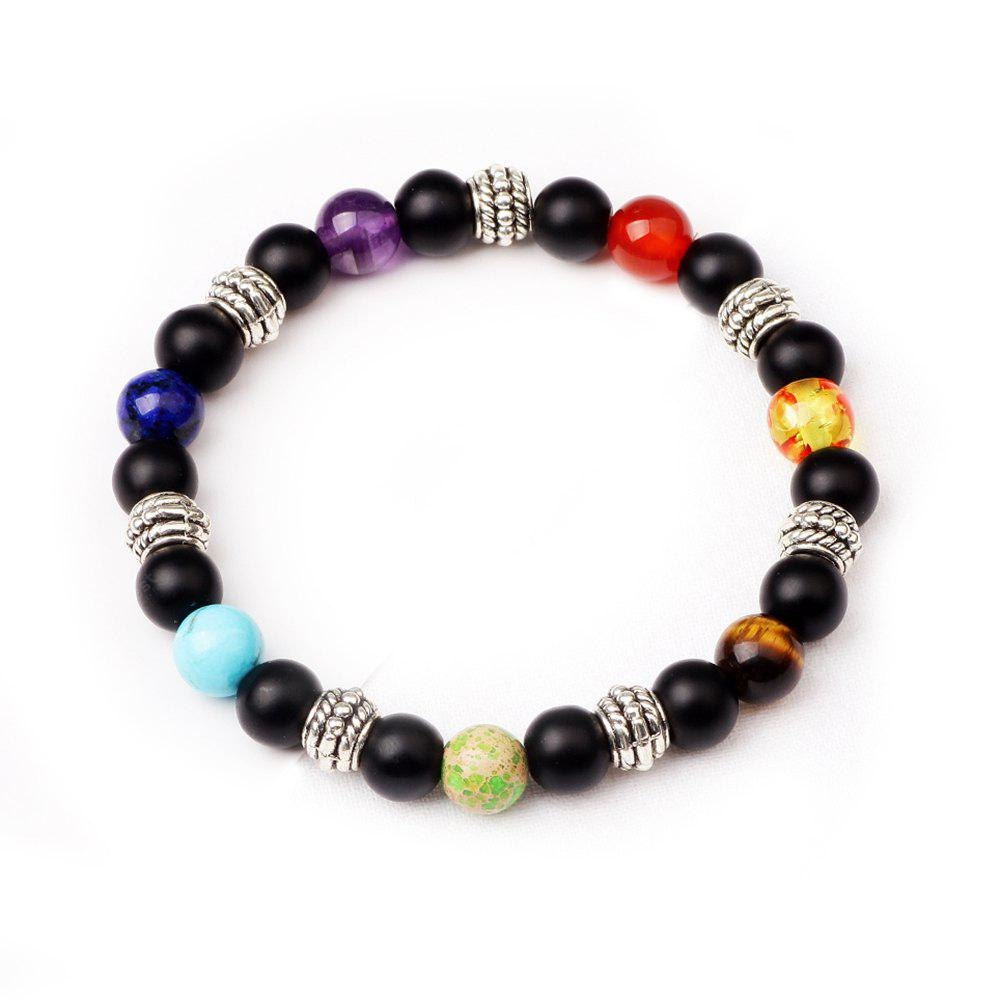 BLACK 2R2610# 7 Colour Agate Beads By Hand Black Frosted Yoga Energy Beads Bracelet 8MM