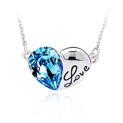 Buy SILVER AND BLUE Fashion Austrian Crystals Silver Love Heart Shape Pendant Necklace Jewelry for $33.34 in GearBest store