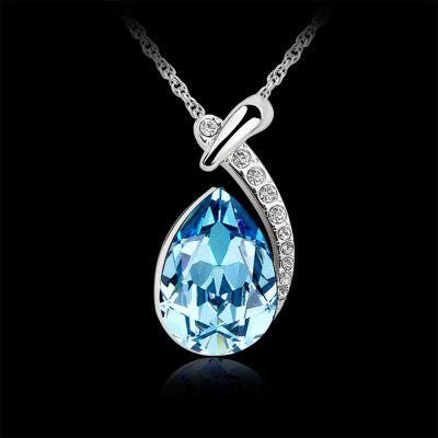 White Gold Plated Swarovski Crystal Elements New Designed Teardrop Pendant Necklace Fashion Jewelry for Women