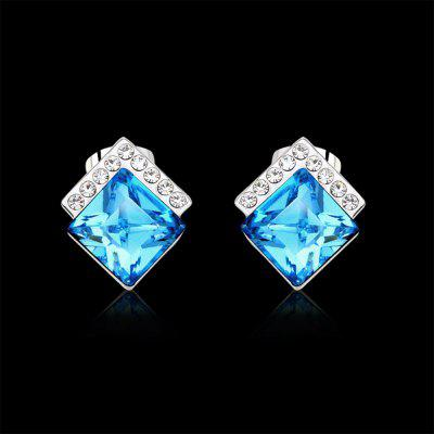 Ouxi Rectangle Earrings Studs with Cubic Zirconia Sterling Silver Ocean Blue Jewelry sterling silver cubic zirconia accent infinity ring