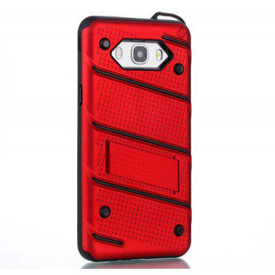Wkae Ultra Thin Dual Layer Shockproof TPU Back Cover Case with Kickstand for Samsung Galaxy J7 2016