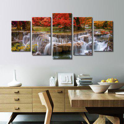 Buy COLORMIX Stetched 5 Panels Red Tree Waterfall Landscape Modern Wall Art for Livingroom Decoration Ready To Hang for $55.51 in GearBest store