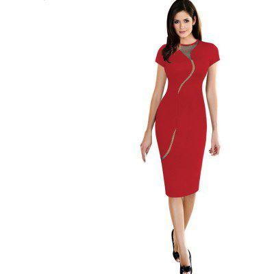 Women's Dress O Neck Colorblock Patchwork Hollow Out Sexy Dress
