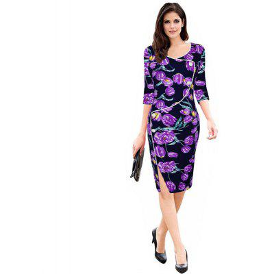 Buy PURPLE L Women's Sheath Dress V Neck Split Slim Dress for $24.84 in GearBest store