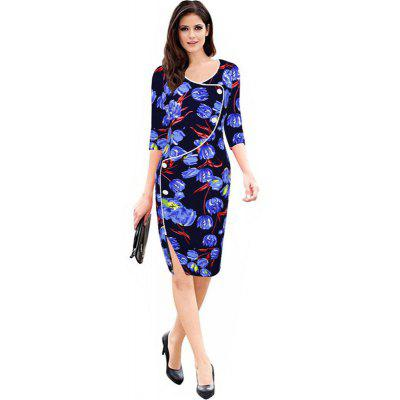 Buy BLUE M Women's Sheath Dress V Neck Split Slim Dress for $24.84 in GearBest store