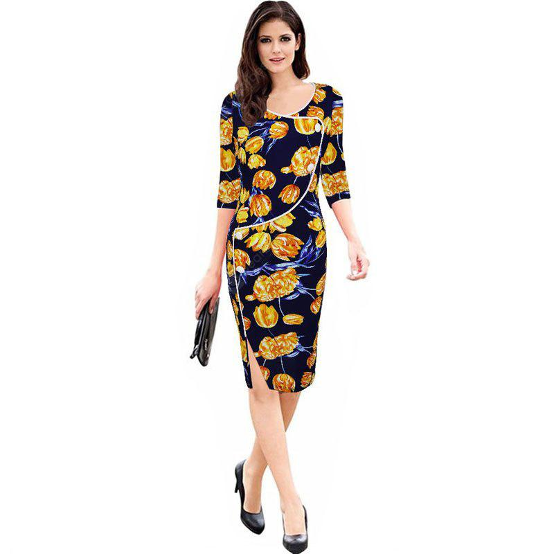 YELLOW M Women's Sheath Dress V Neck Split Slim Dress