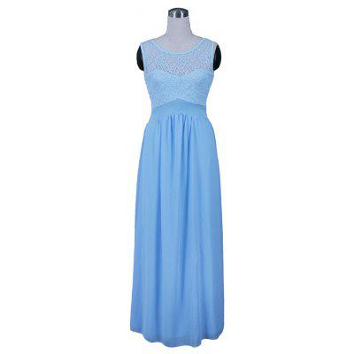 Elegant Sexy Sky Blue Back Floral Lace Chiffon Dresses Womem Summer Sleeveless Tunic Party Long Maix Dress