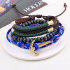 3 Pcs Anchor Bead Hand Woven Rope Bracelets - MULTI-COLOR