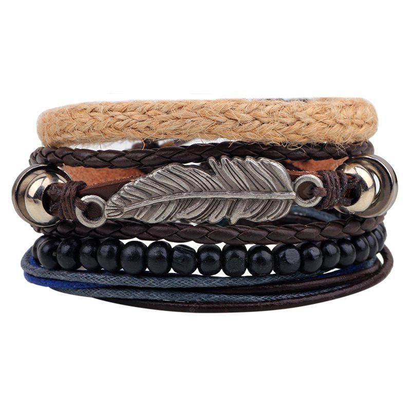 MULTI-COLOR 4 Pcs Leaves Handmade Leather Bracelet Rope Wooden Beads