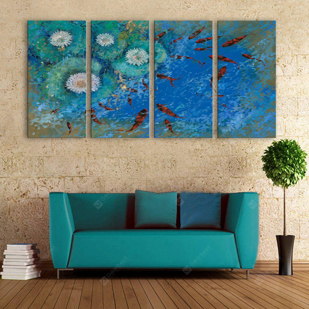 yc Special Design Frameless Paintings Carp Swimming of 4