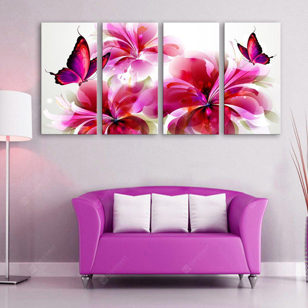 Yc Special Design Frameless Paintings Flowers And Butterflies of 4