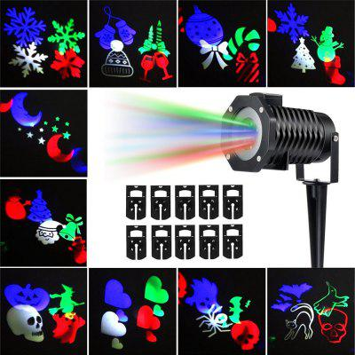 Supli Outdoor Christmas Projector Lights Multicolor Rotating Led Light Projection Waterproof Snowflake Spotlight-10pcs Pattern