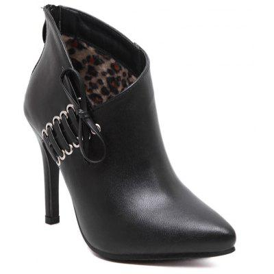Women's Ankle Boots Thin Heel Solid Color Bow Simple High Heels