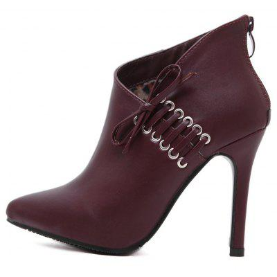 Womens Ankle Boots Thin Heel Solid Color Bow Simple High HeelsWomens Boots<br>Womens Ankle Boots Thin Heel Solid Color Bow Simple High Heels<br><br>Boot Height: Ankle<br>Boot Tube Height: 9<br>Boot Type: Fashion Boots<br>Closure Type: Zip<br>Embellishment: Bow<br>Gender: For Women<br>Heel Height: 10.5<br>Heel Height Range: Super High(Above4)<br>Heel Type: Stiletto Heel<br>Package Contents: 1 x Shoes(pair)<br>Pattern Type: Solid<br>Season: Winter, Spring/Fall<br>Toe Shape: Pointed Toe<br>Upper Material: PU<br>Weight: 1.6588kg