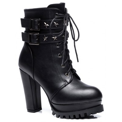 Women's Stylish Martin Boots Round Toe Thick Heels Star Rivets Pendant Lace-up Boots