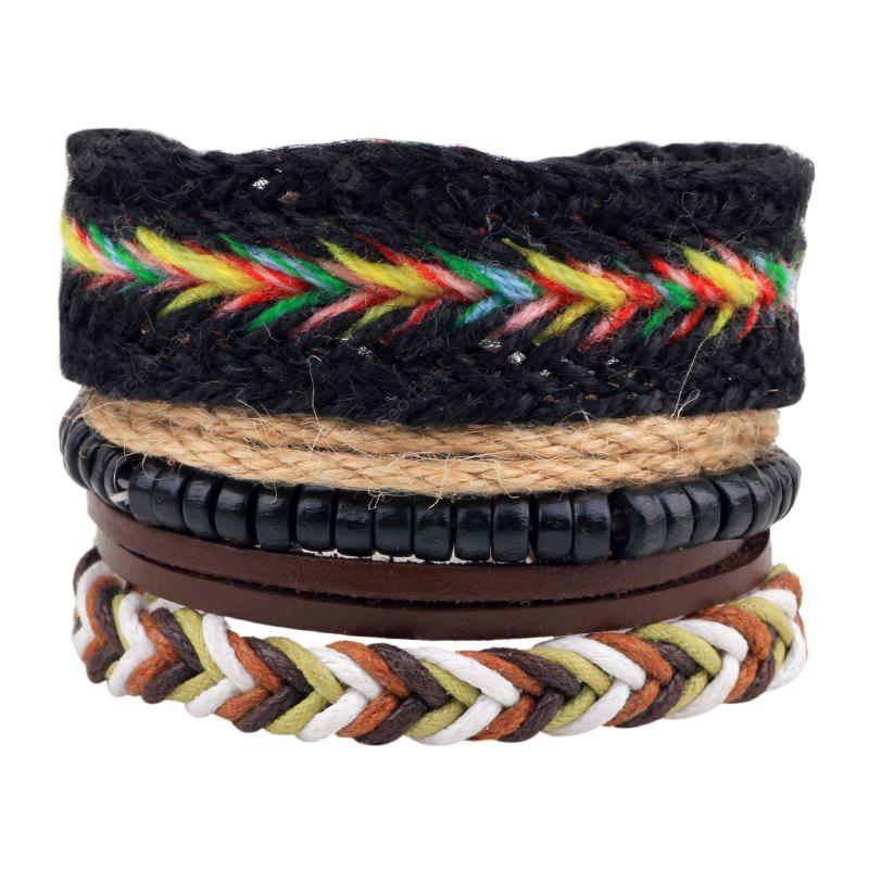 MULTICOLOR 4 Pcs Fashion Leather Hand Woven Bracelet